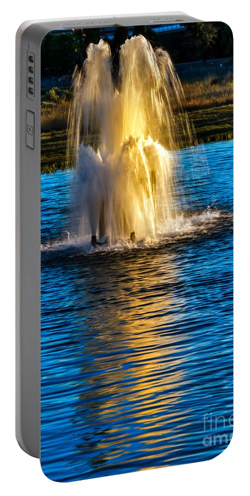 Pond Portable Battery Charger featuring the photograph Pond Fountain by Robert Bales