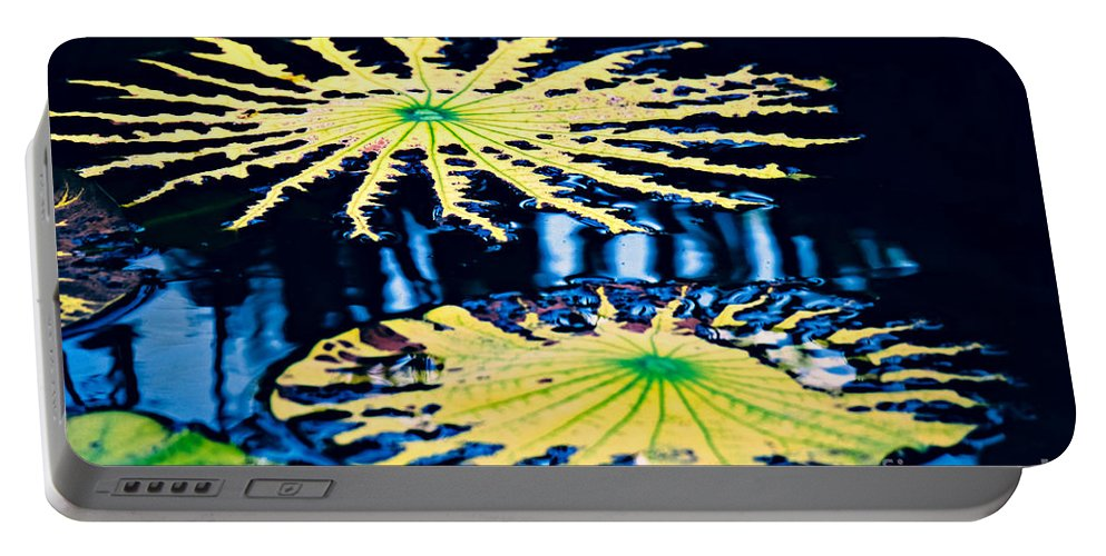 Pond Portable Battery Charger featuring the photograph Pond Lily Pad Abstract by Gary Richards
