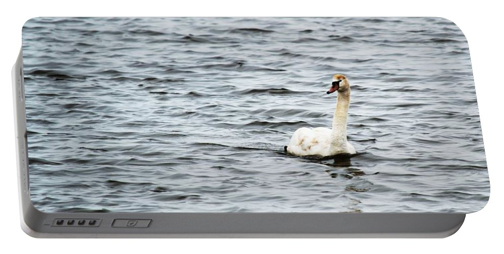 Swan Portable Battery Charger featuring the photograph Pond Swan by Linda Kerkau
