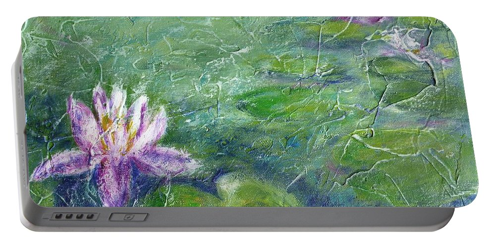 Water Lily Portable Battery Charger featuring the painting Green Pond With Water Lily by Cristina Stefan