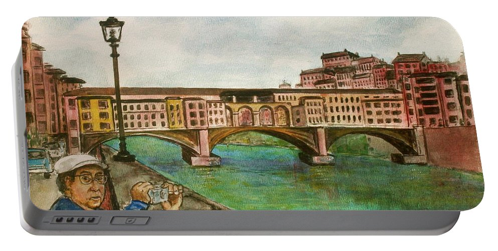 Ponte Vecchio Italy Florence Man Camera Taking Photo River Arno Portable Battery Charger featuring the painting Ponte Vecchio Florence Italy by Frank Hunter