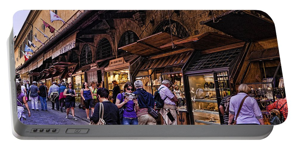 Ponte Vecchio Portable Battery Charger featuring the photograph Ponte Vecchio Merchants - Florence by Jon Berghoff