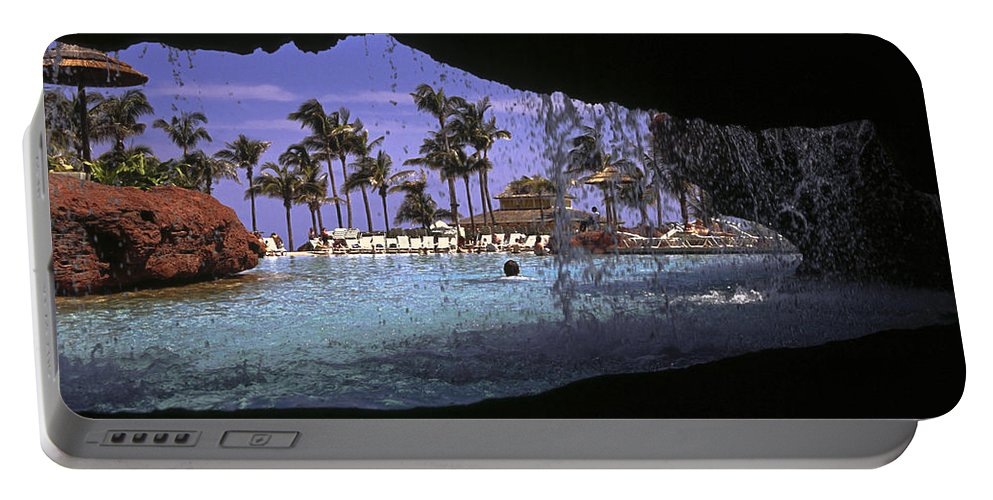 Freeform Pool Seen Through Walkway Opening Portable Battery Charger featuring the photograph Pool And Palms by Sally Weigand