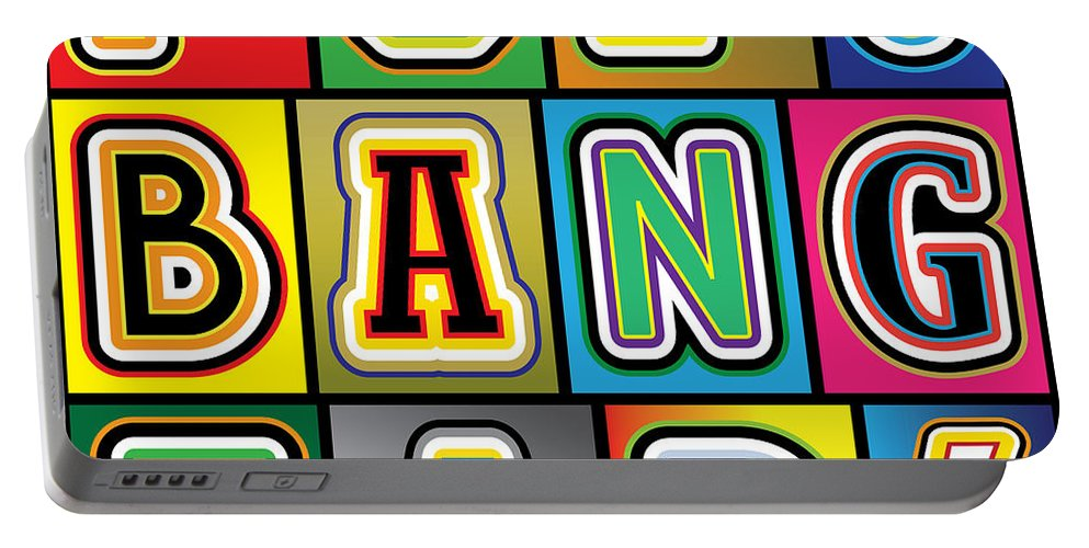 Pop Art Portable Battery Charger featuring the digital art Pop Words by Gary Grayson