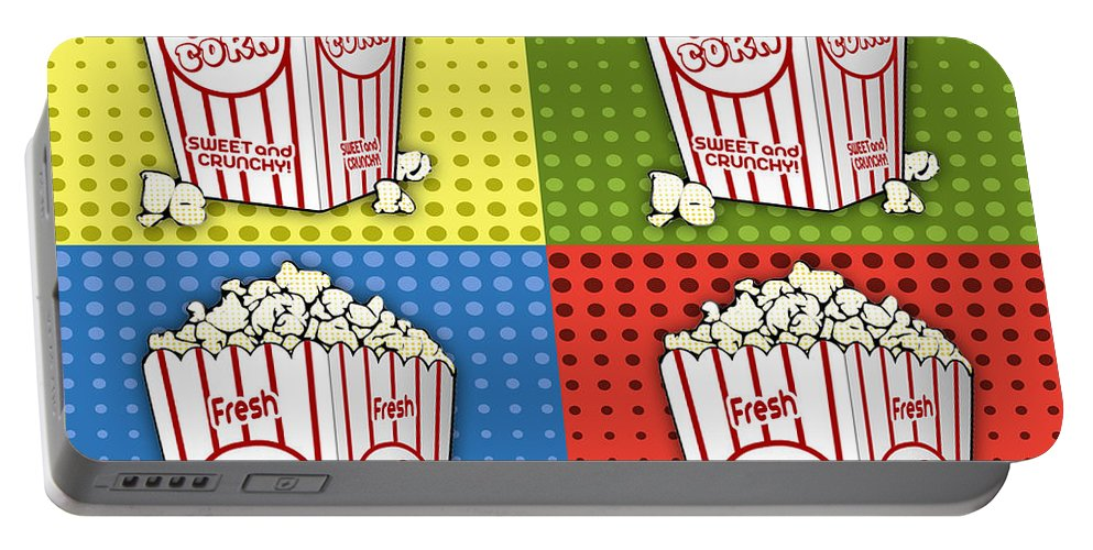 Digital Art Portable Battery Charger featuring the digital art Popcorn Pop Art-jp2375 by Jean Plout