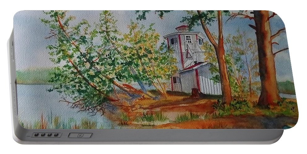 Poplar Point Lighthouse Portable Battery Charger featuring the painting Poplar Point Lighthouse by Lise PICHE