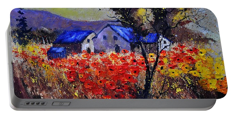 Landscape Portable Battery Charger featuring the painting Poppies 4110 by Pol Ledent