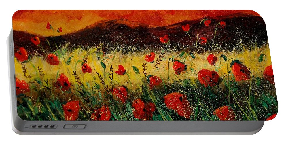Poppies Portable Battery Charger featuring the painting Poppies 68 by Pol Ledent