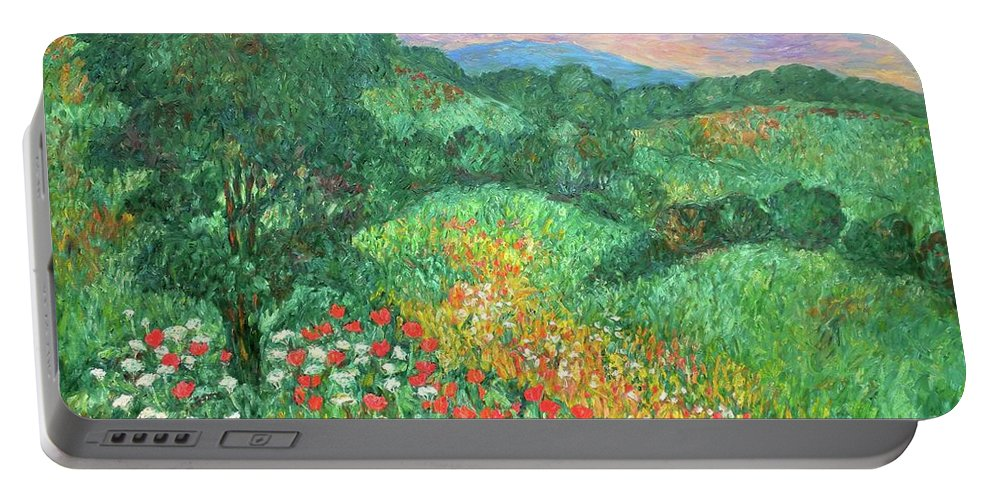 Landscapes Portable Battery Charger featuring the painting Poppies And Lace by Kendall Kessler
