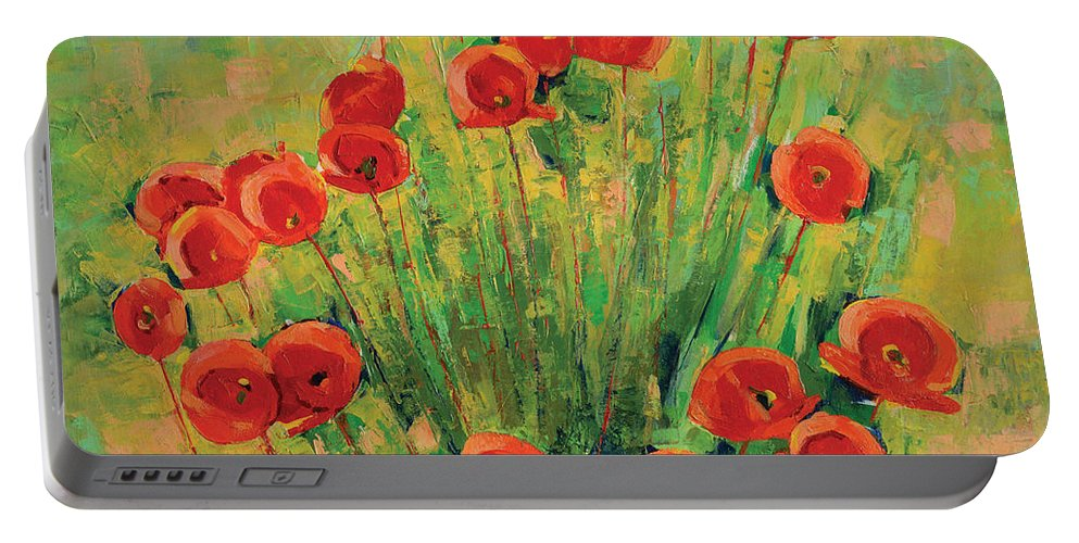 Poppies Portable Battery Charger featuring the painting Poppies by Iliyan Bozhanov