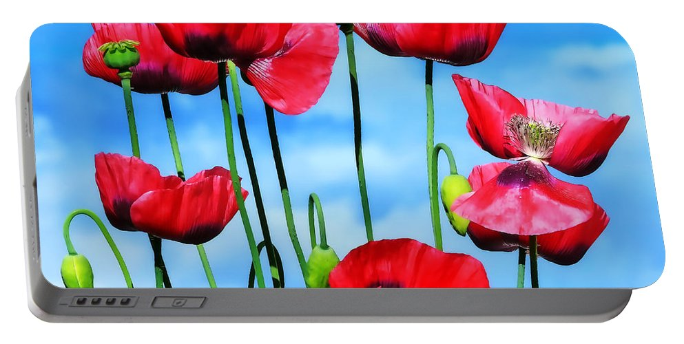 Poppies Portable Battery Charger featuring the photograph Poppies by Susie Peek