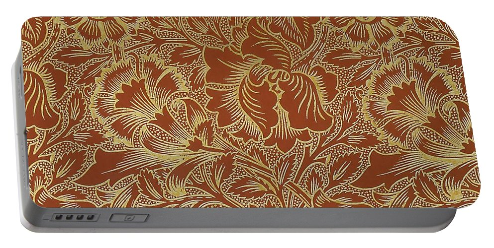 Arts And Crafts Portable Battery Charger featuring the mixed media Poppy Design by William Morris