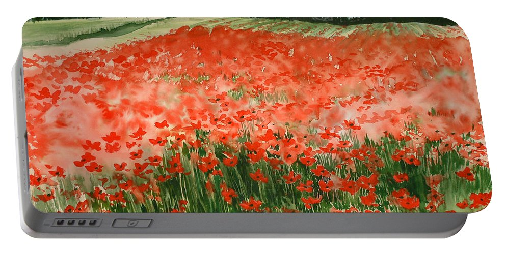 Watercolors Portable Battery Charger featuring the painting Poppy Field by Maryann Boysen