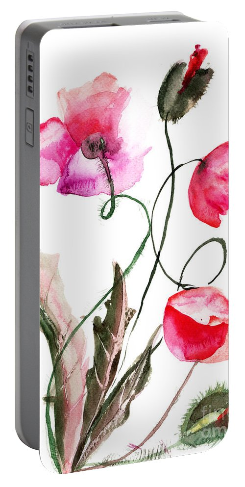 Backdrop Portable Battery Charger featuring the painting Poppy Flowers by Regina Jershova