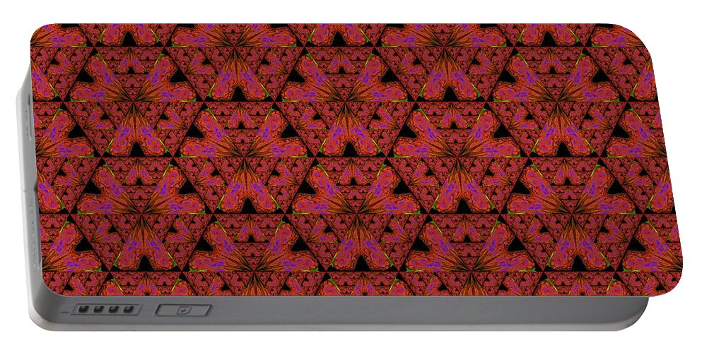 Fractal Portable Battery Charger featuring the digital art Poppy Sierpinski Triangle Fractal by Judi Suni Hall