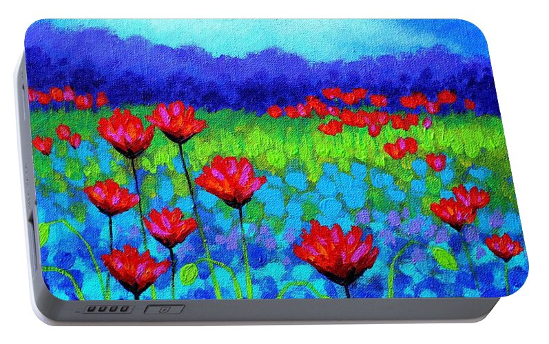 Acrylic Portable Battery Charger featuring the painting Poppy Study by John Nolan