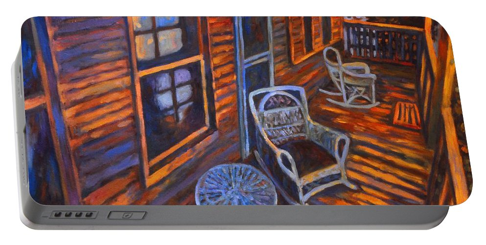 Kendall Kessler Portable Battery Charger featuring the painting Porch by Kendall Kessler