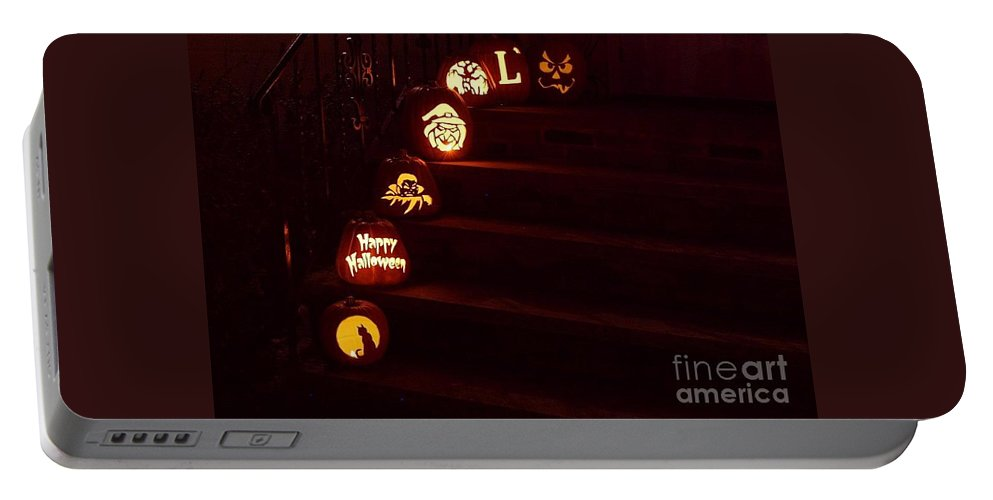 Pumpkins Portable Battery Charger featuring the photograph Porch Pumpkins by Living Color Photography Lorraine Lynch
