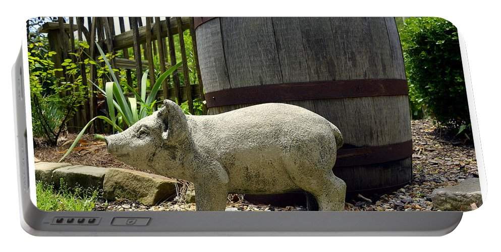 Pig Portable Battery Charger featuring the photograph Pork Barrel by Kathy Barney