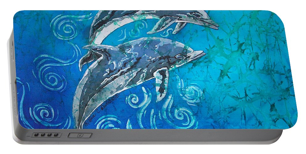 Porpoise Portable Battery Charger featuring the painting Porpoise Pair by Sue Duda