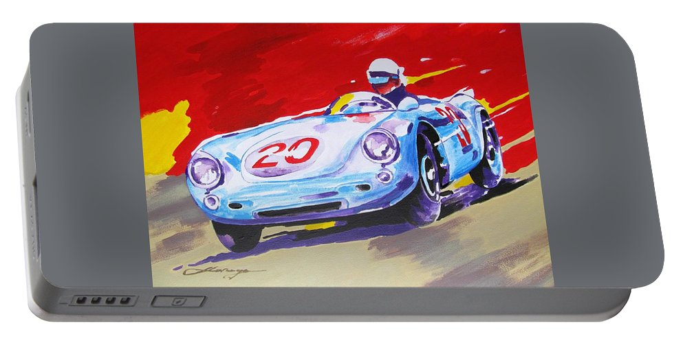 Car Portable Battery Charger featuring the painting Porsche 550 Rs - 1956 by Dan Haraga