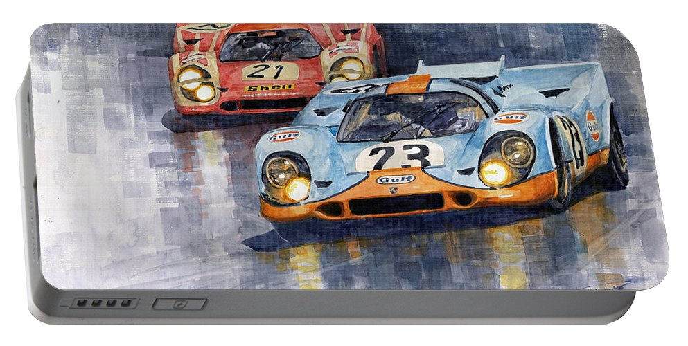 Watercolor Portable Battery Charger featuring the painting Porsche 917k 1000km Zeltweg Austria 1970 by Yuriy Shevchuk