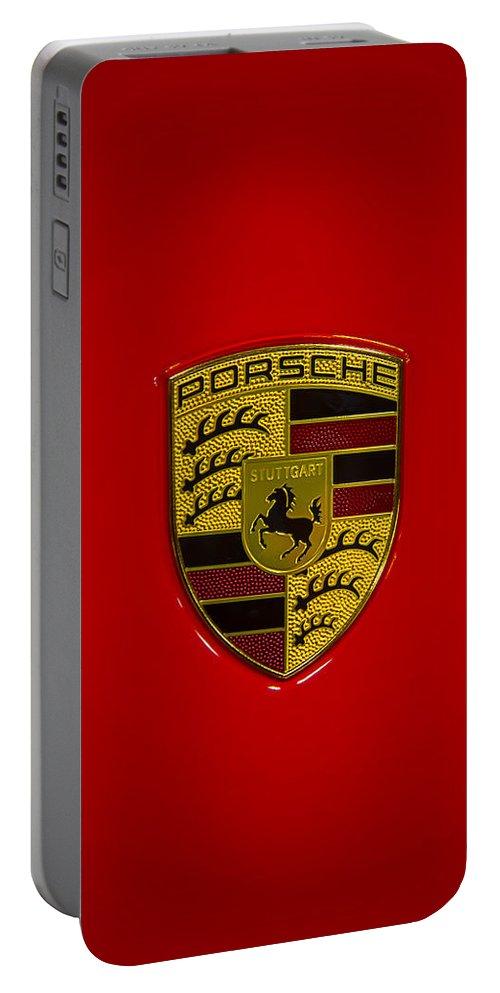Porsche Emblem Portable Battery Charger featuring the photograph Porsche Emblem Red Hood by Garry Gay