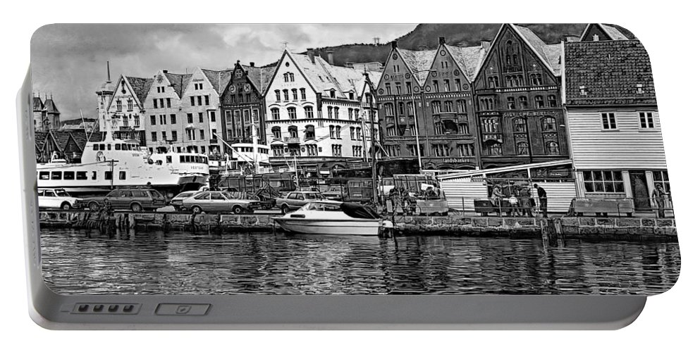 Alesund Portable Battery Charger featuring the photograph Port Life Bw by Steve Harrington