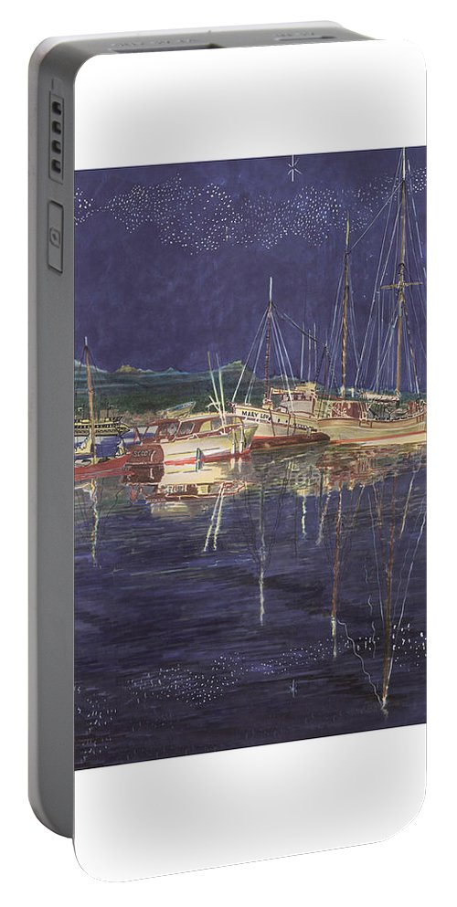 I Just Ordered A Shower Curtain For Myself With This Image On It Portable Battery Charger featuring the painting Stary Port Orchard Night by Jack Pumphrey