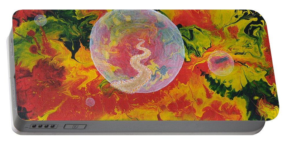 Abstract Portable Battery Charger featuring the painting Portals And Dimensions by Georgeta Blanaru