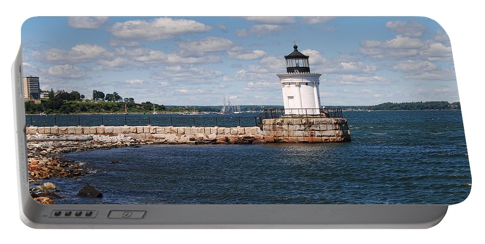 Portland Breakwater Light Portable Battery Charger featuring the photograph Portland Breakwater Light by Phyllis Taylor