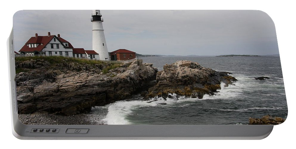 Portland Head Light Portable Battery Charger featuring the photograph Portland Head Light - M E by Christiane Schulze Art And Photography