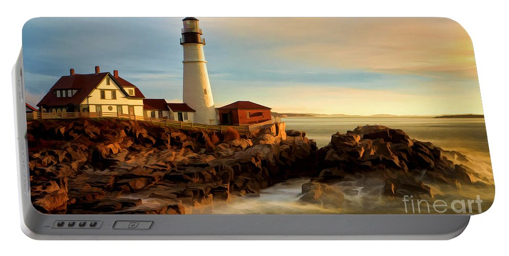 Portland Head Lighthouse Portable Battery Charger featuring the photograph Portland Head Lighthouse At Dawn by Jerry Fornarotto