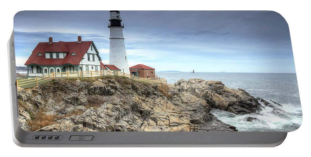 Portland Head Lighthouse Portable Battery Charger featuring the photograph Portland Head Lighthouse by Donna Doherty