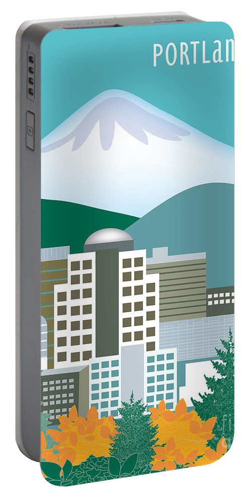 Portland Portable Battery Charger featuring the digital art Portland Oregon Vertical Skyline by Karen Young