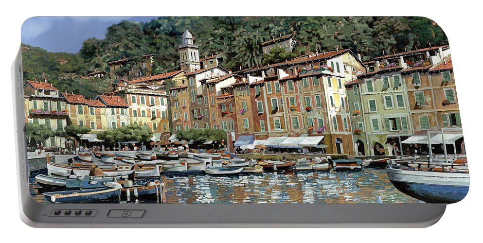 Portofino Portable Battery Charger featuring the painting Portofino by Guido Borelli