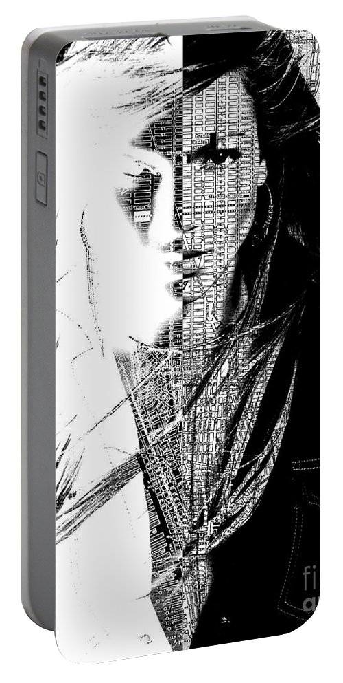 Portrait Portable Battery Charger featuring the digital art Portrait Art Jennifer Lopez by Mary Clanahan