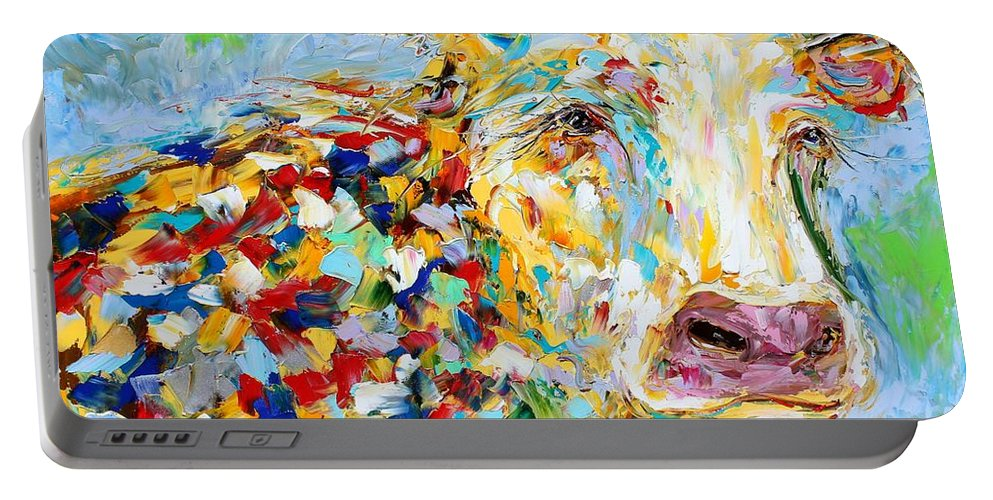 Cow Portable Battery Charger featuring the painting Portrait Of A Cow by Karen Tarlton
