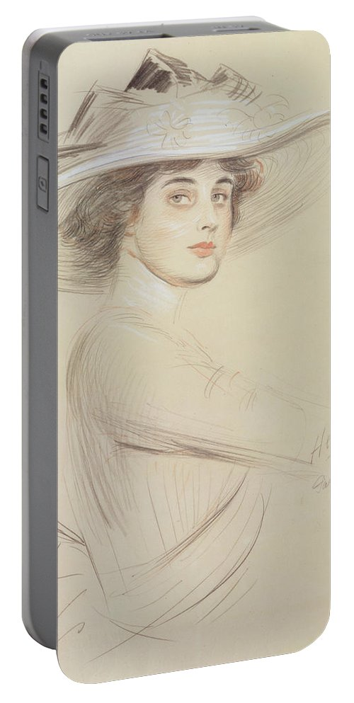 Drawing Portable Battery Charger featuring the drawing Portrait Of A Woman by Paul Cesar Helleu