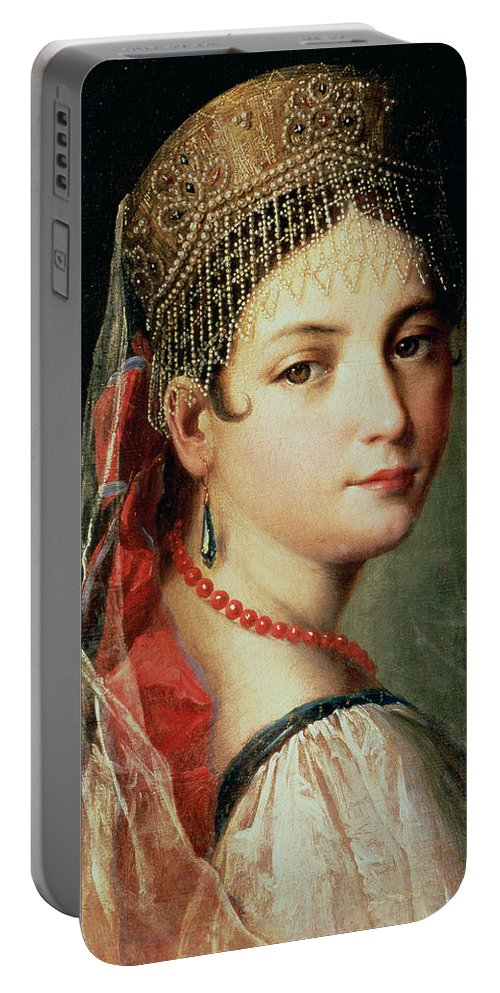 Gandolfi Portable Battery Charger featuring the painting Portrait Of A Young Girl In Sarafan And Kokoshnik by Mauro Gandolfi