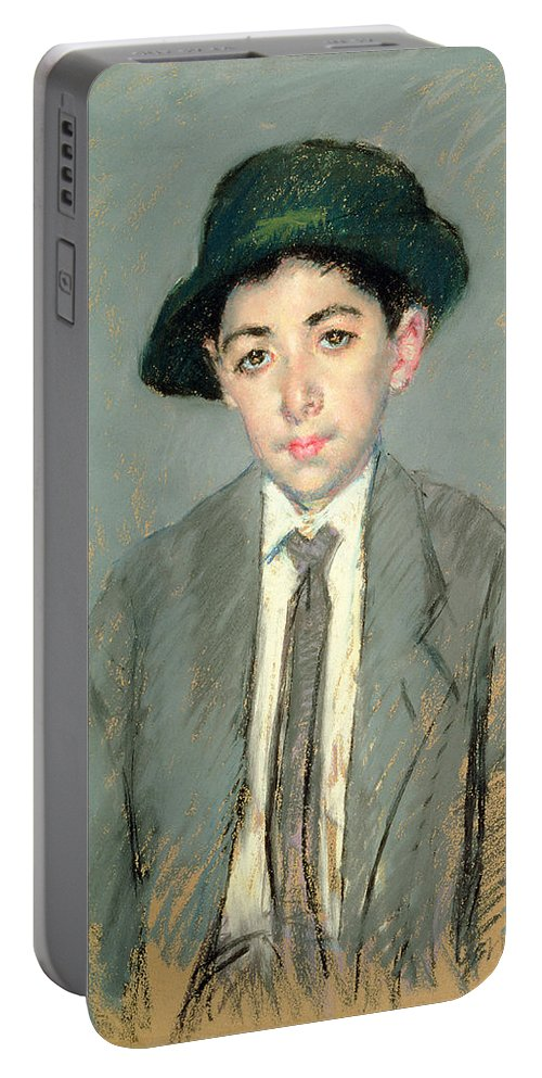 Boy; Child; Half Length; Hat; Tie Portable Battery Charger featuring the painting Portrait Of Charles Dikran Kelekian by Mary Stevenson Cassatt
