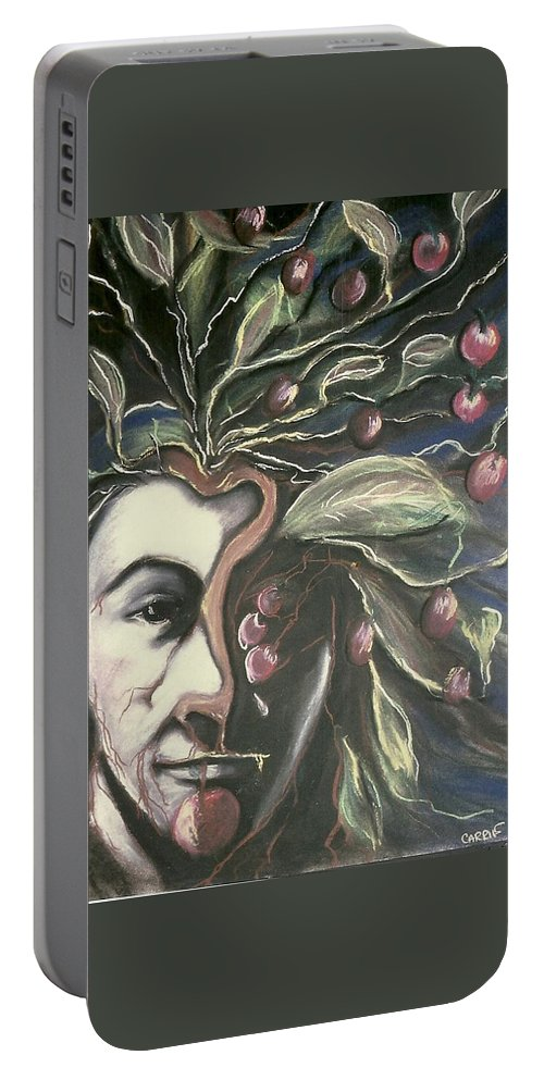 Pastels Portable Battery Charger featuring the pastel Self Portrait by Carrie Maurer