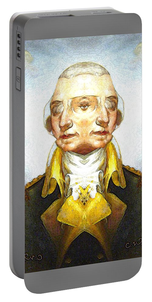 Portable Battery Charger featuring the digital art Portrait-of-george Washington Vert 2 by Zac AlleyWalker Lowing