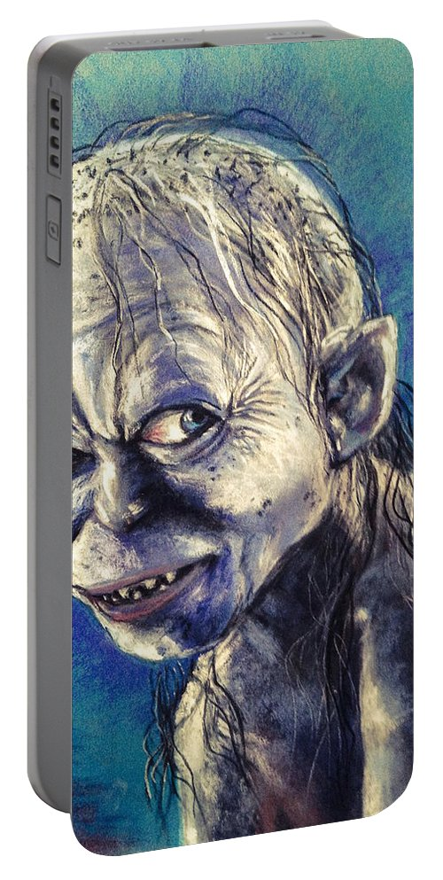 Gollum Portable Battery Charger featuring the pastel Portrait Of Gollum by Alban Dizdari