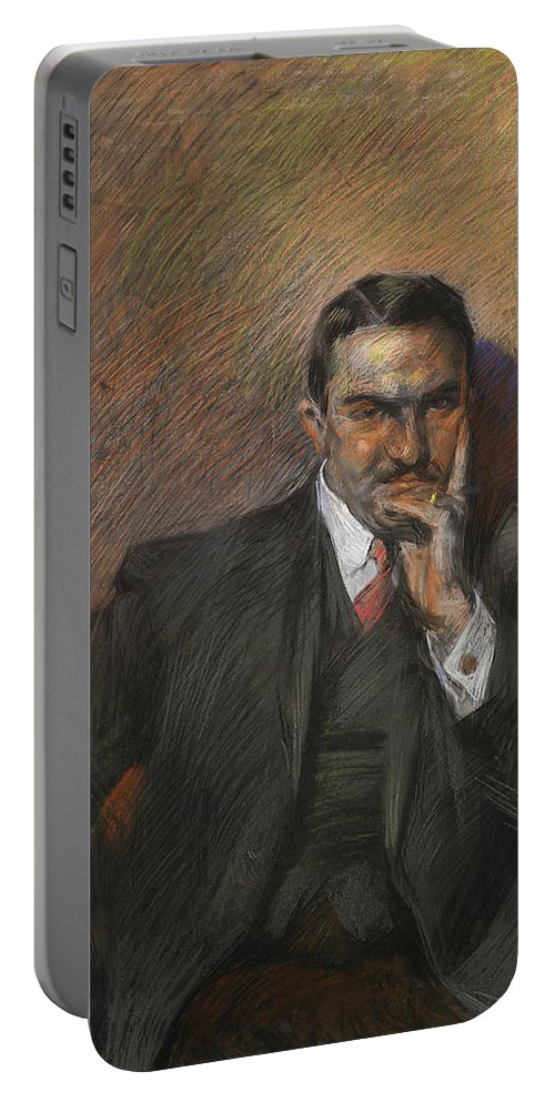 Boccioni Portable Battery Charger featuring the pastel Portrait Of Innocenzo Massimino by Umberto Boccioni