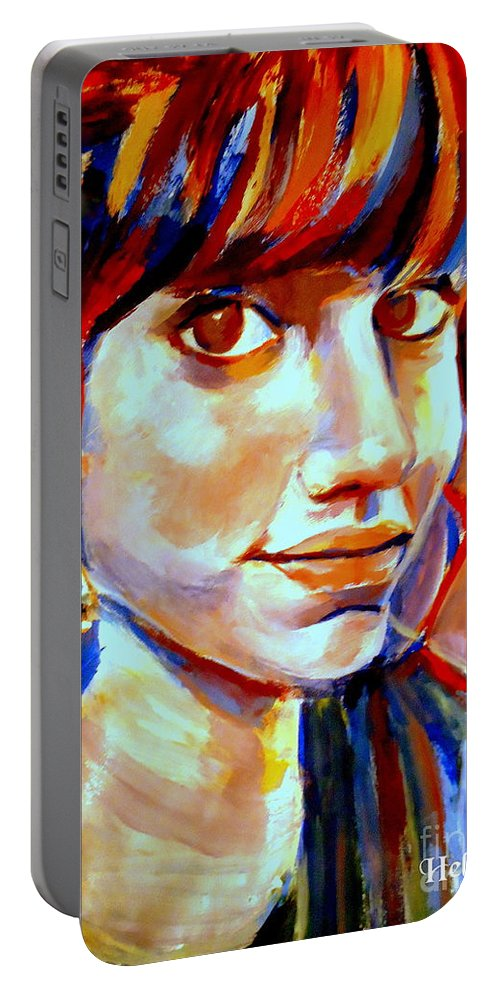 Nude Figures Portable Battery Charger featuring the painting Portrait Of Ivana by Helena Wierzbicki