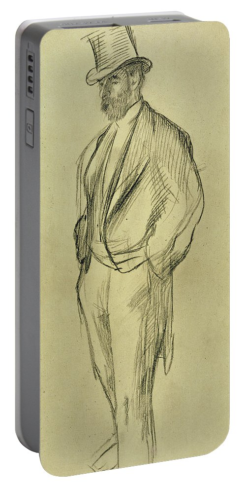 Friend Of Degas Portable Battery Charger featuring the painting Portrait Of Ludovic Halevy by Edgar Degas