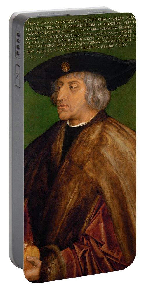 Albrecht Duerer Portable Battery Charger featuring the painting Portrait Of Maximilian I by Albrecht duerer