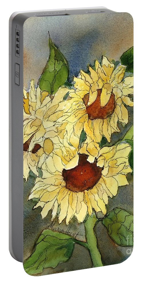Sunflowers Portable Battery Charger featuring the painting Portrait Of Sunflowers by Maria Hunt