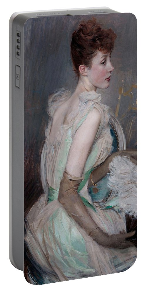Giovanni Portable Battery Charger featuring the painting Portrait Of The Countess De Leusse by Giovanni Boldini